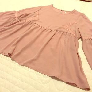 ASOS Curve Pink Plus Size Bell Sleeve Blouse